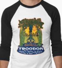 Retro Troodon in the Rushes (light-colored shirt) Men's Baseball ¾ T-Shirt