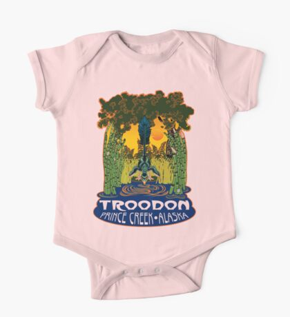 Retro Troodon in the Rushes (light-colored shirt) Kids Clothes