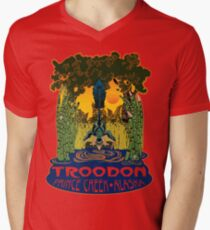 Retro Troodon in the Rushes (light-colored shirt) Mens V-Neck T-Shirt