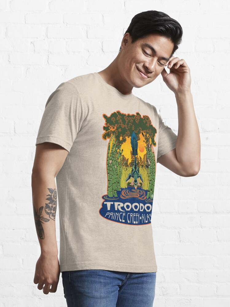 Alternate view of Retro Troodon in the Rushes (light-colored shirt) Essential T-Shirt