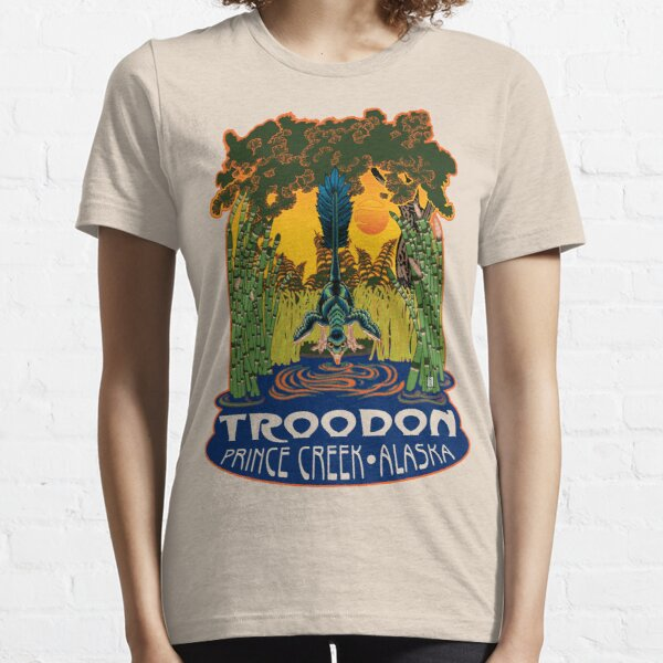 Retro Troodon in the Rushes (light-colored shirt) Essential T-Shirt