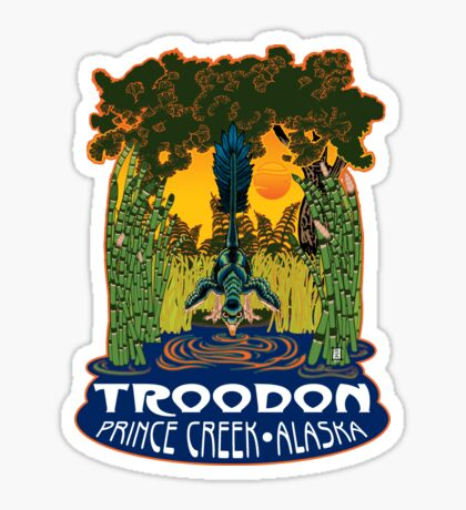 Retro Troodon in the Rushes (light-colored shirt) Sticker