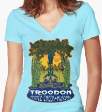 Retro Troodon in the Rushes (dark-colored shirt) Women's Fitted V-Neck T-Shirt
