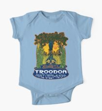 Retro Troodon in the Rushes (dark-colored shirt) One Piece - Short Sleeve