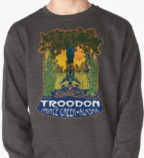 Retro Troodon in the Rushes (dark-colored shirt) Pullover