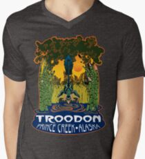 Retro Troodon in the Rushes (dark-colored shirt) Mens V-Neck T-Shirt