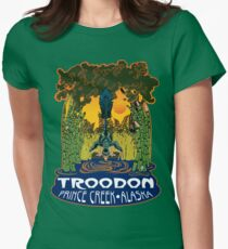Retro Troodon in the Rushes (dark-colored shirt) Women's Fitted T-Shirt