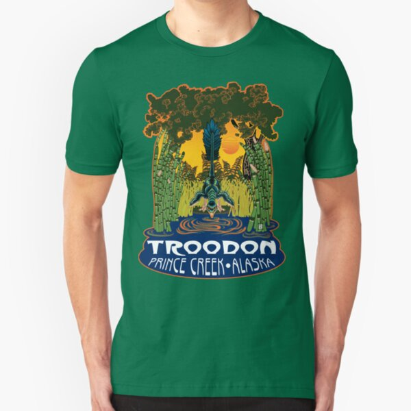 Retro Troodon in the Rushes (dark-colored shirt) Slim Fit T-Shirt