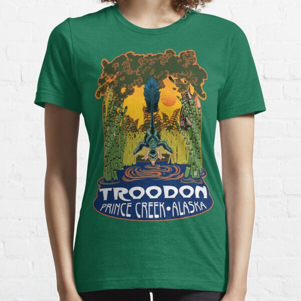 Retro Troodon in the Rushes (dark-colored shirt) Essential T-Shirt