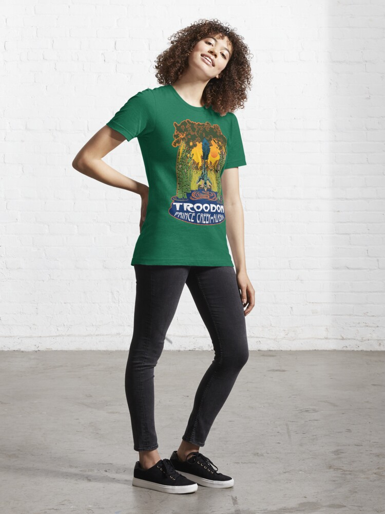 Alternate view of Retro Troodon in the Rushes (dark-colored shirt) Essential T-Shirt