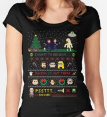 The X-Files Christmas - Santa is Out There Women's Fitted Scoop T-Shirt