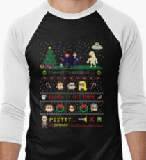 The X-Files Christmas - Santa is Out There Men's Baseball ¾ T-Shirt