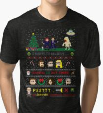 The X-Files Christmas - Santa is Out There Tri-blend T-Shirt