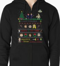 The X-Files Christmas - Santa is Out There Zipped Hoodie