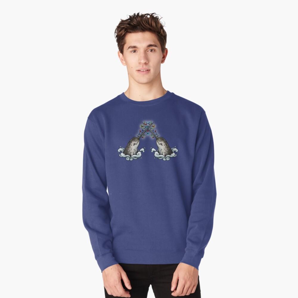 Christmas narwhal Pullover Sweatshirt