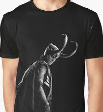 Camiseta gráfica Loki en blanco y negro