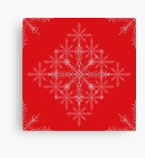 Red Christmas snow flakes  Canvas Print