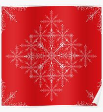 Red Christmas snow flakes  Poster