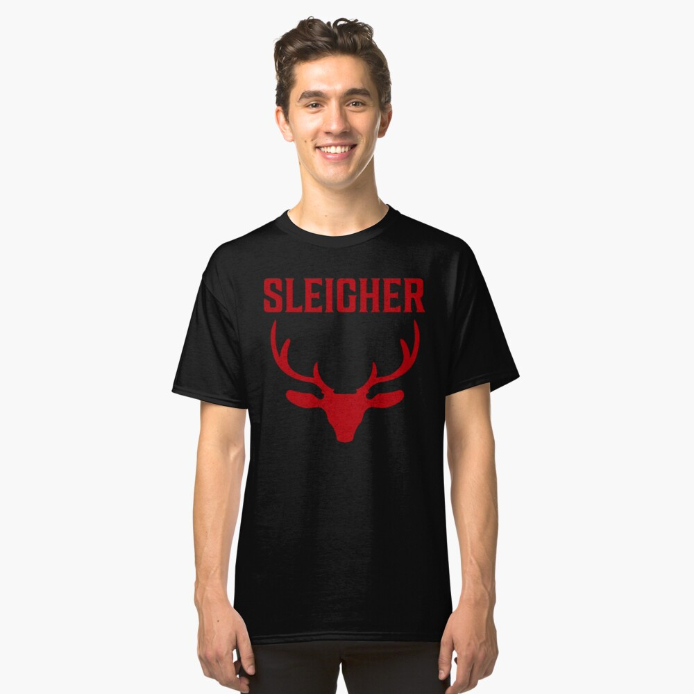 Sleigher Funny Metal Christmas T Shirt Classic T-Shirt Front