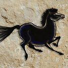 Cave Art Horse - Black Stallion by Jan Szymczuk