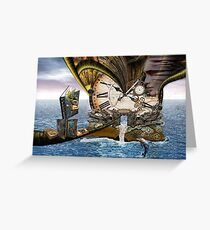 Steampunk Dragon Library Greeting Card
