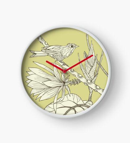 Bird on Orchid Cactus Clock