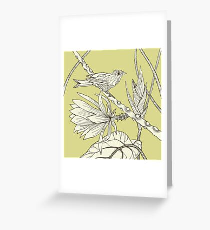 Bird on Orchid Cactus Greeting Card