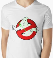 Who Busts The Ghost Busters? (logo) v3 Men's V-Neck T-Shirt