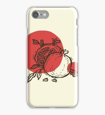 Pomegranates linocut iPhone Case/Skin