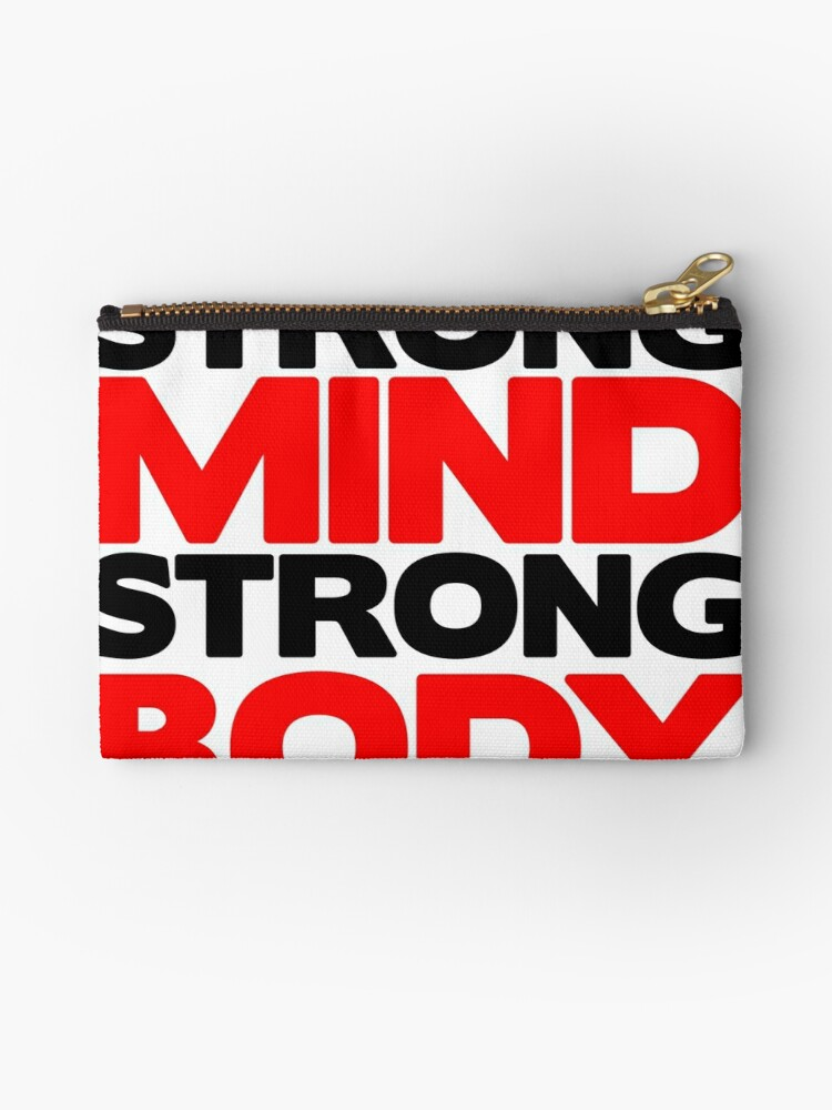 Strong Mind Strong Body Fitness Slogan Studio Pouches By Fitbys