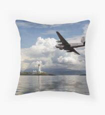 Shackleton over Lismore lighthouse Throw Pillow