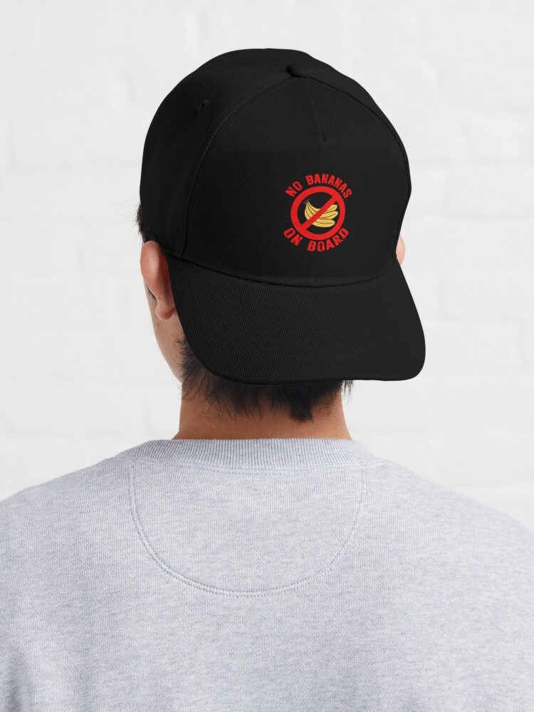 Alternate view of No Bananas on Board Boat Fishermen Superstition Shirt Funny Cap