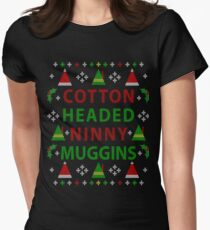 Cotton Headed Ninny Muggins Ugly Christmas Sweater Women's Fitted T-Shirt