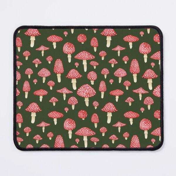 Amanita Mushrooms Red on Green Mouse Pad