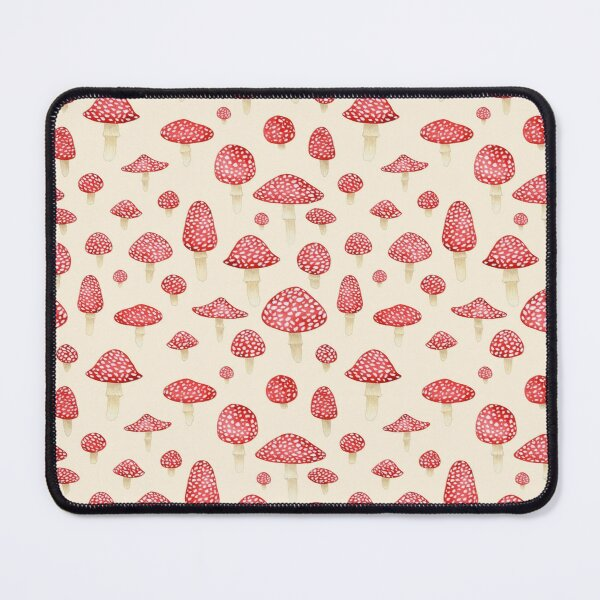 Amanita Mushrooms Red on Cream Mouse Pad