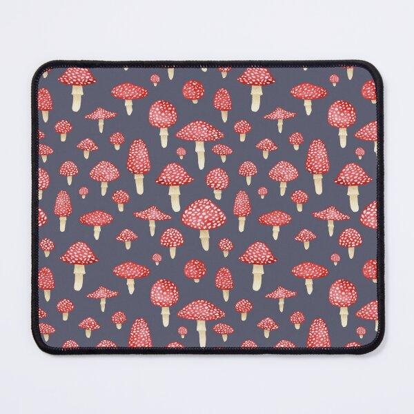 Amanita Mushrooms Red on Grey Mouse Pad