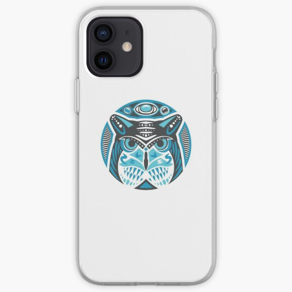 Owl Shamanic Animal Emblem - Grey Blue iPhone Soft Case
