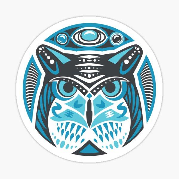 Owl Shamanic Animal Emblem - Grey Blue Sticker