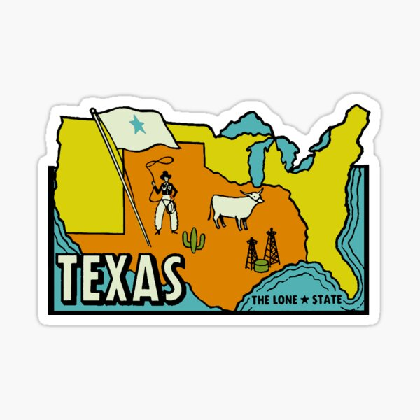 Texas Map Vintage Travel Decal Sticker