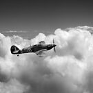 Hawker Hurricane above clouds B&W version by Gary Eason