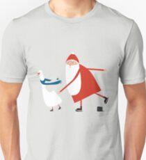 Weihnachtsmann auf Schlittschuhen Unisex T-Shirt