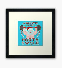 Funny Christmas Santa Claus North Swole Weightlifter Framed Print