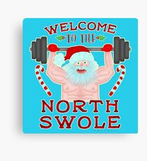 Funny Christmas Santa Claus North Swole Weightlifter Canvas Print