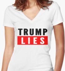 Trump Lies. Women's Fitted V-Neck T-Shirt