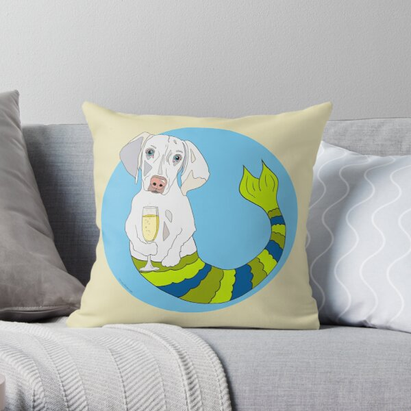 Dixie the Weimeranher Mermutt Throw Pillow