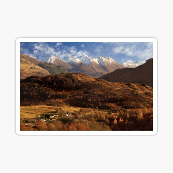 The Five Sisters of Kintail Snow Scene Sotland Sticker