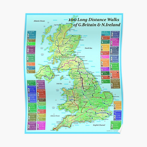 100 Long Distance Walks of Great Britain and N.Ireland Poster