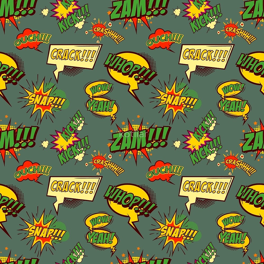 Seamless pattern with comic style phrases by kotliar