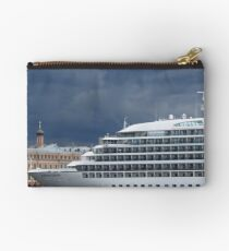 Seabourn Sojourn Berthed Beneath Stormy Skies Studio Pouch