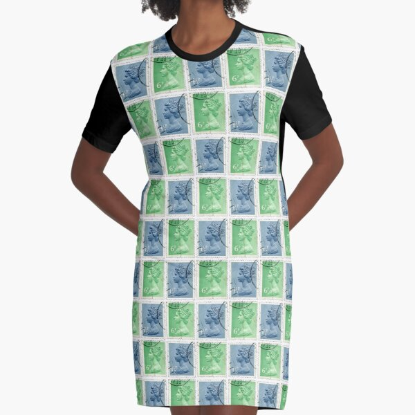 British Postage Stamps Graphic T-Shirt Dress